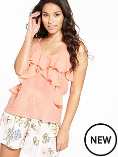 miss-selfridge-ruffle-cami-top-apricot
