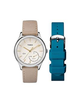 Timex Timex Iq Cream Dial Bone Leather Strap &Amp Intechangable Teal Silicone Strap Ladies Smart Watch
