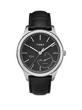 Timex Timex Iq Black Dial Black Leather Strap Mens Smart Watch