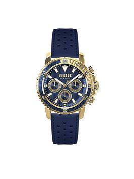Versus Versace Versus Versace Aberdeen Blue Multi Dial Blue Leather Strap Mens Watch