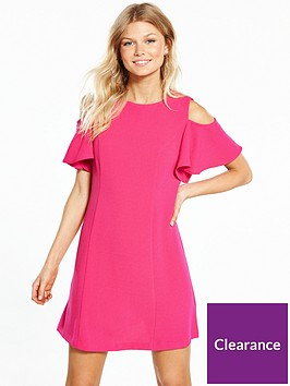 v-by-very-petite-cold-shoulder-woven-dress-fuchsia