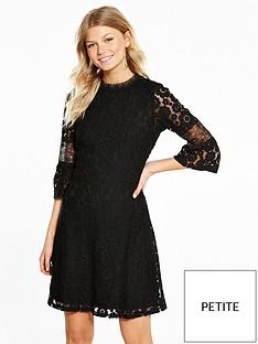 v-by-very-petite-flute-sleeve-lace-dress-black