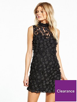 v-by-very-petite-high-neck-3d-flower-dress-black