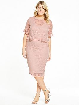 V By Very Curve Fluted Sleeve Double Layer Lace Dress