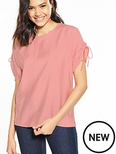 warehouse-ruched-sleeve-top