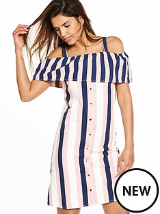 warehouse-stripe-ruffle-dress