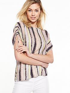 warehouse-dash-stripe-ruched-sleeve-t-shirt