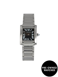 cartier-cartier-preowned-tank-fracaise-black-roman-numeral-dial-stainless-steel-ladies-watch-ref-2384