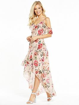 V By Very Cold Shoulder Frill Tiered Maxi Dress