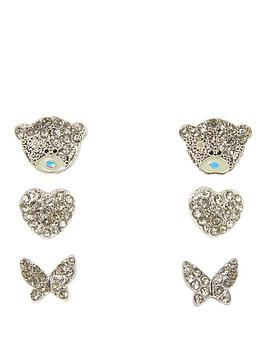 Me To You Me To You Tatty Teddy Silver Plated Set Of 3 Heart Butterfly And Bear Earrings