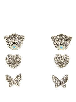 Me To You Me To You Tatty Teddy Silver Plated Set Of 3 Bear Heart And Butterfly Crystal Set Earrings