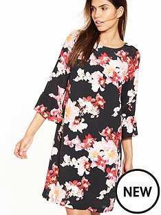 wallis-orchid-blossom-flute-sleeve-dress