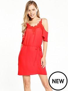 oasis-lace-trim-cold-shoulder-cami-dress