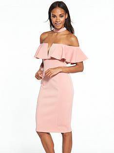 rare-ruffle-choker-midi-dress