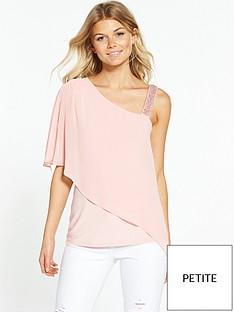 wallis-petite-one-shoulder-overlay-top-pale-pink