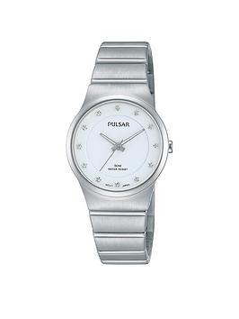 Pulsar White Dial Swarovski Element Hour Markers Ladies Watch