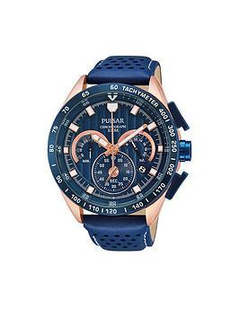 Pulsar Blue Chronograph Blue Strap Mens Watch