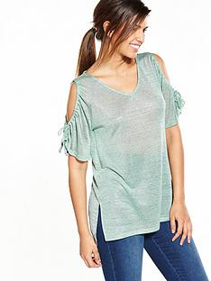 v-by-very-cut-out-shoulder-ruched-metallic-top