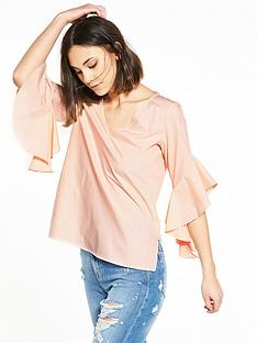 river-island-pink-frill-sleeve-top