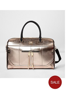river-island-rose-gold-weekend-bag