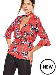 v-by-very-red-floral-choker-print-wrap-blouse