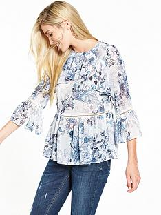 v-by-very-blue-floral-frill-front-casual-blouse