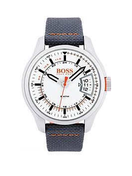 Hugo Boss Hugo Boss Orange Hong Kong White Date Dial Grey Strap Mens Watch