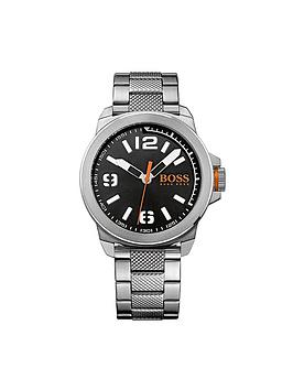 Hugo Boss Hugo Boss Orange New York Black Dial Stainless Steel Bracelet Mens Watch