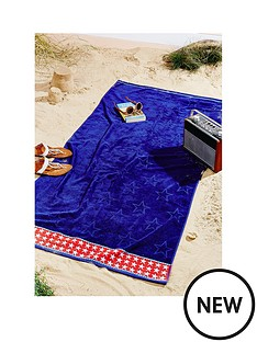 catherine-lansfield-stars-and-stripes-blue-beach-towel