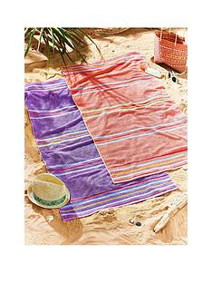 catherine-lansfield-rainbow-beach-towel-pair-coral-amp-purple