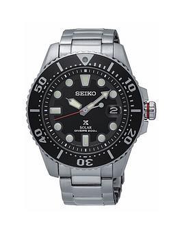 Seiko Gents Black Dial Stainless Steel Bracelet Watch
