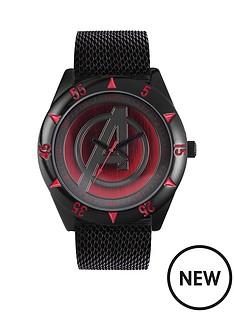 the-avengers-avengers-black-mesh-strap-red-avengers-logo-dial-mens-watch