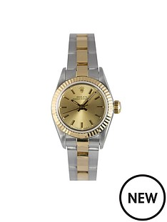 rolex-rolex-preowned-oyster-perpetual-champagne-dial-ladies-watch-ref-679193