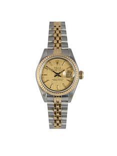 rolex-rolex-preowned-datejust-champagne-linen-baton-dial-bimetal-ladies-watch-ref-69173