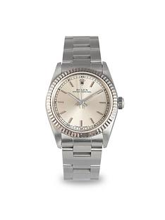 rolex-rolex-preowned-oyster-perpetual-silver-baton-midsize-watch-ref-77080