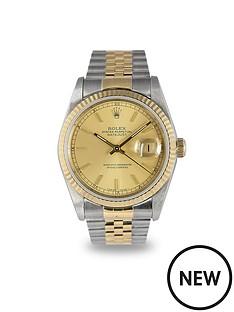 rolex-rolex-preowned-datejust-champagne-dial-bimetal-mens-watch-ref-16233