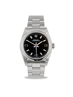 rolex-rolex-preowned-oyster-perpetual-black-dial-midsize-watch-ref-77080