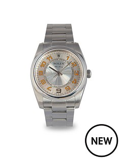 rolex-rolex-preowned-air-king-silver-concentric-dial-orange-numerals-mens-watch-ref-114200