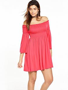 v-by-very-smock-sheered-bandeau-dress-coral
