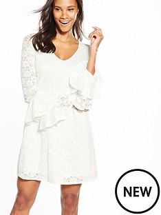 v-by-very-lace-v-neck-tiered-sleeve-dress-ivory