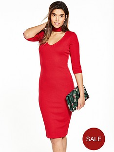 v-by-very-choker-rib-jersey-midi-dress-red