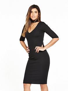 v-by-very-choker-rib-jersey-midi-dress-black