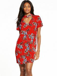 v-by-very-high-neck-choker-printed-dress
