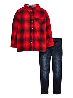 mini-v-by-very-boys-brushed-check-shirt-amp-jean-outfit