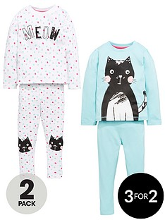 mini-v-by-very-girls-2-pack-cat-slogan-pyjamas