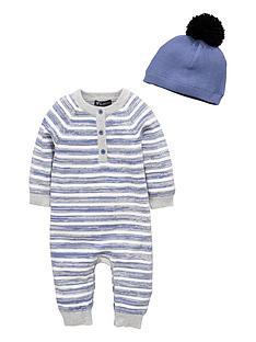mini-v-by-very-baby-boys-stripe-knitted-romper-amp-bobble-hat-set