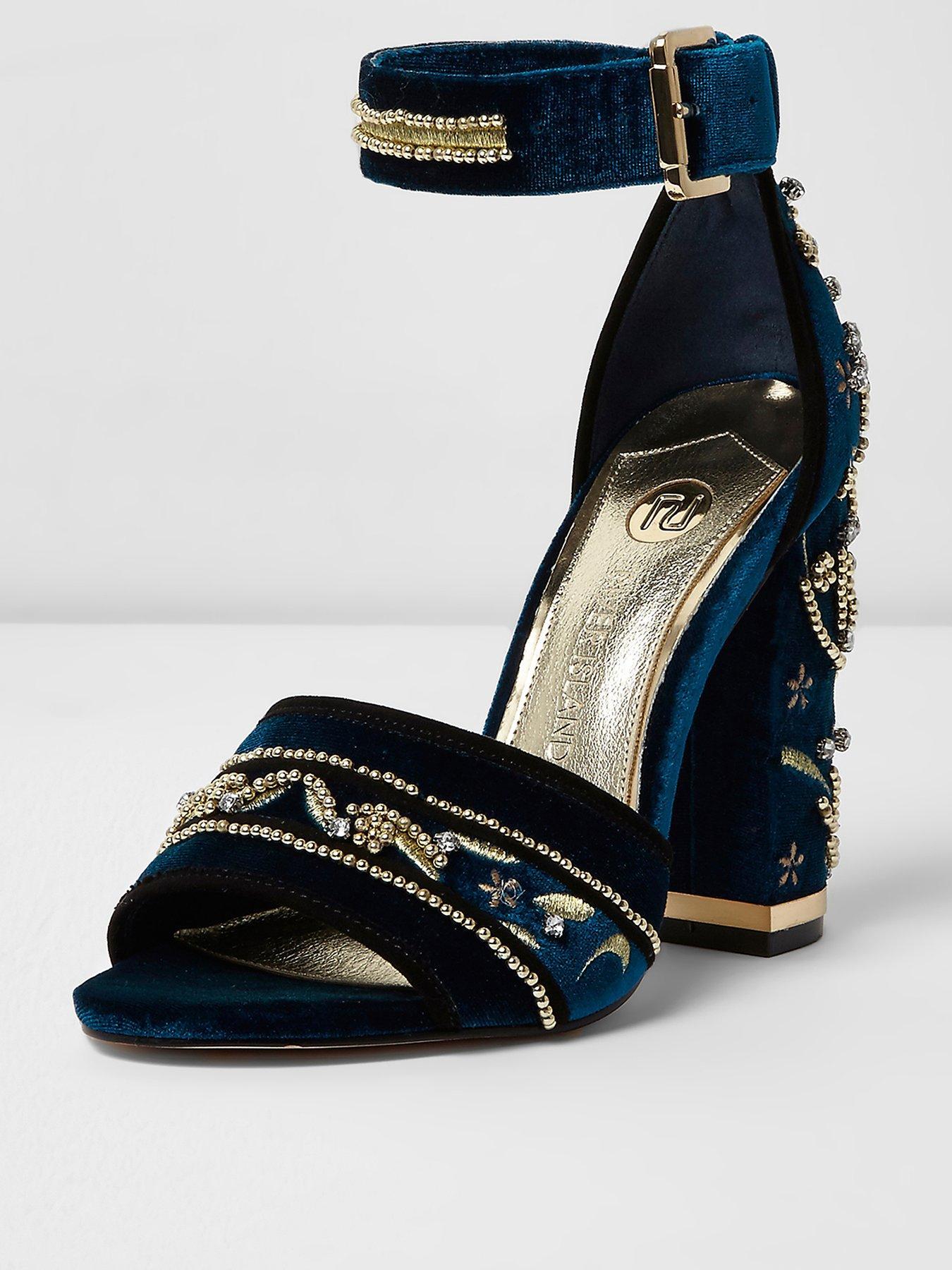 River Island Embellished Block Heel Ankle Strap Sandal 1600171690 Women's Shoes River Island Heels