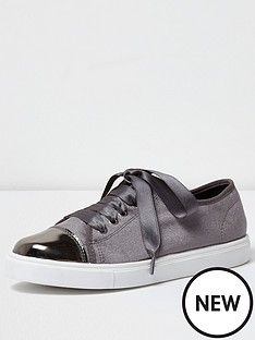 river-island-grey-velvet-lace-up-trainer