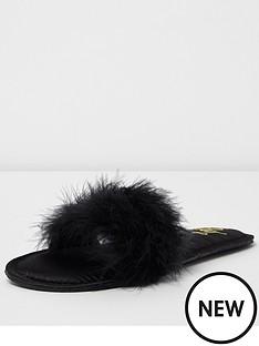 river-island-black-fur-slipper
