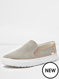 river-island-raisin-gold-trim-plimsoll